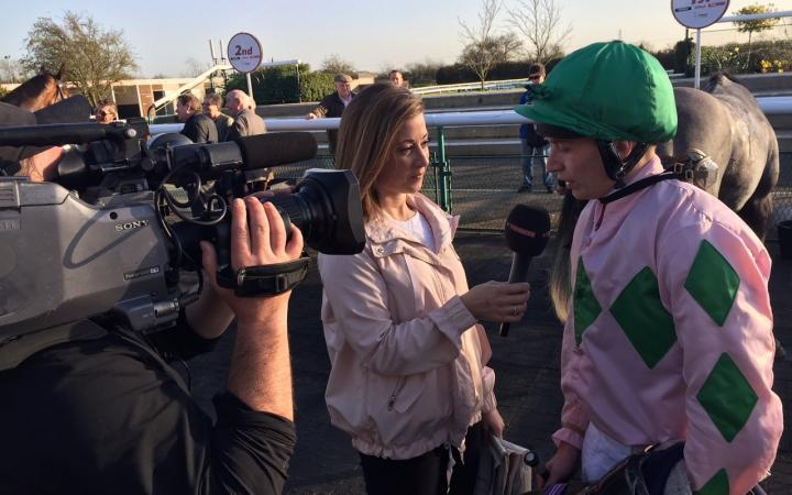 Luke Morris discusses his improving Championship prospects with my fellow At The Races presenter Hayley Turner at Southwell last week.