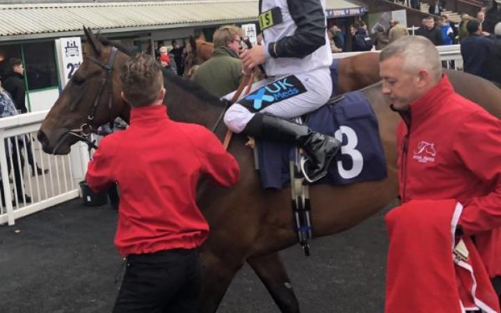 The well bred Isango returns to the winner's enclosure at Wolverhampton for a delighted Stevie Donohoe.