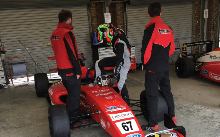 Frank Bird flies the Be Wiser Insurance Owl logo In the Ford Formula 4 Championship